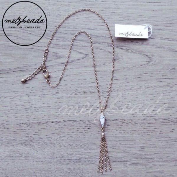 Tassel Necklace with Semi Precious Howlite
