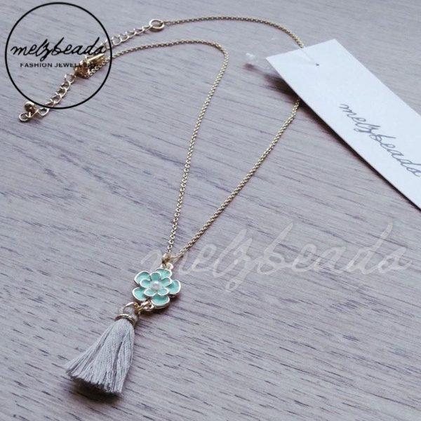 Green Flower Tassel Pendant Necklace