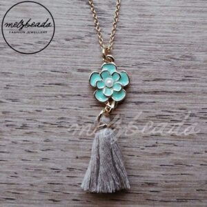 Green Flower Tassel Pendant Necklace