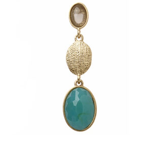 Semi Precious Turquoise and Topaz Gold Drop Earrings