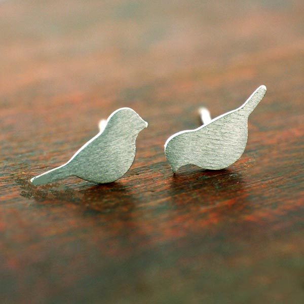 Sterling silver bird stud