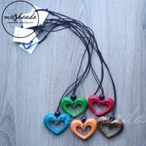 Wooden Heart Pendant Long Necklace