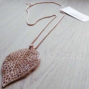 Falling Leaf Rose Gold Necklace