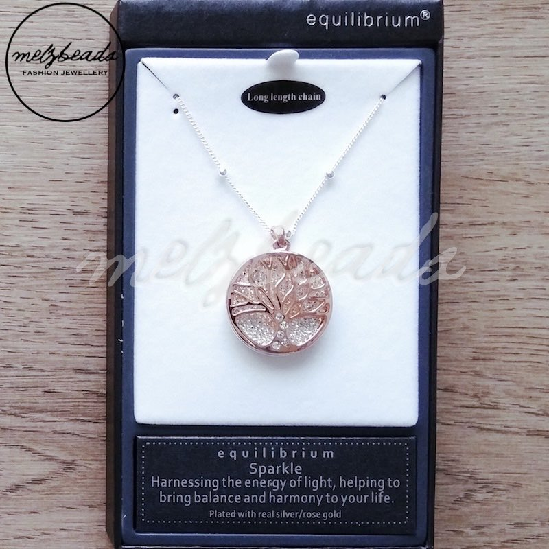 Equilibrium Sparkle Tree of Life Long Necklace Silver Rose Gold
