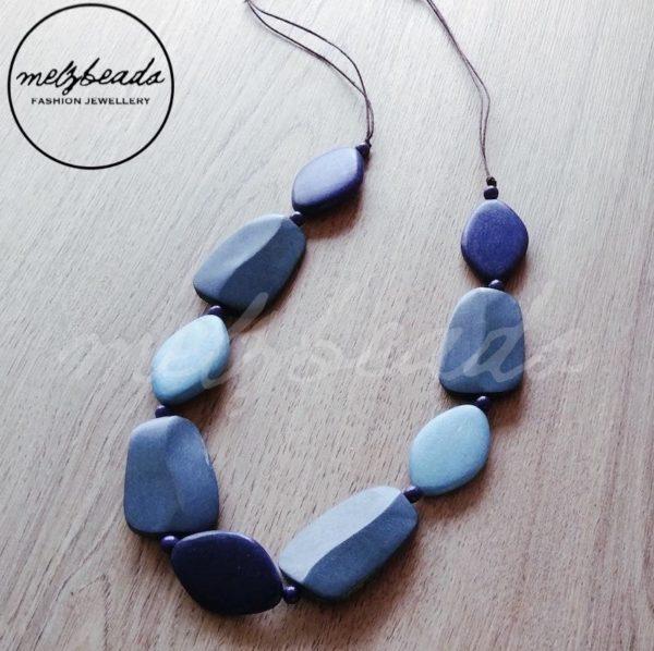 blue grey multi shape wooden necklace