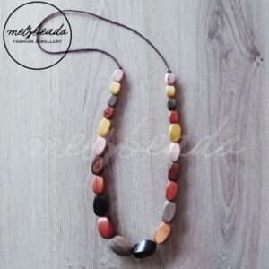 chunky earth tone wooden bead necklace