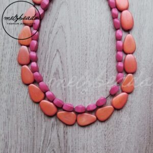 red orange wooden necklace
