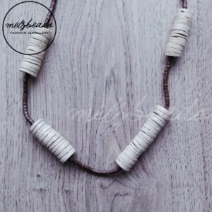 Tubular Gathered Wooden Bead Necklace