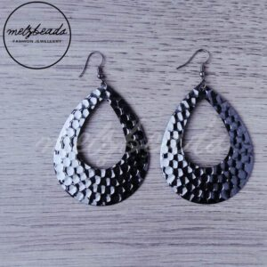 Metallic Grey Beaten Teardrop Earrings