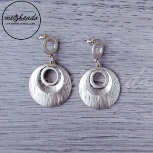 Etched Circle Drop Gold Earrings