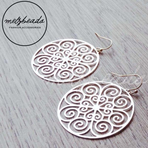 Filigree Circle Gold Cutout Earrings
