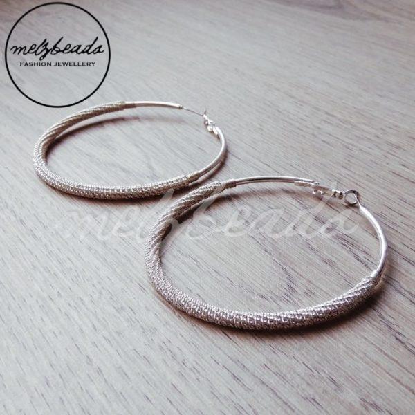 Large Meshed Silver Hoop Earrings