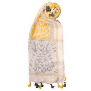 yellow white tassel scarf