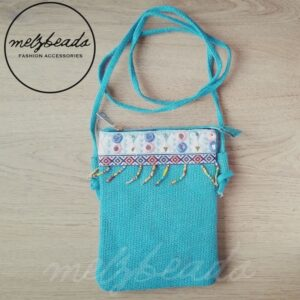 Teal Turquoise Embellished Beaded Crossover Bag