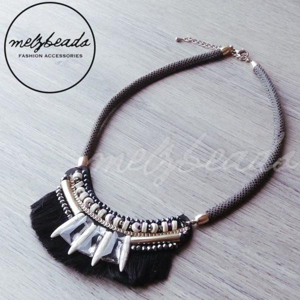 black tribal statement necklace