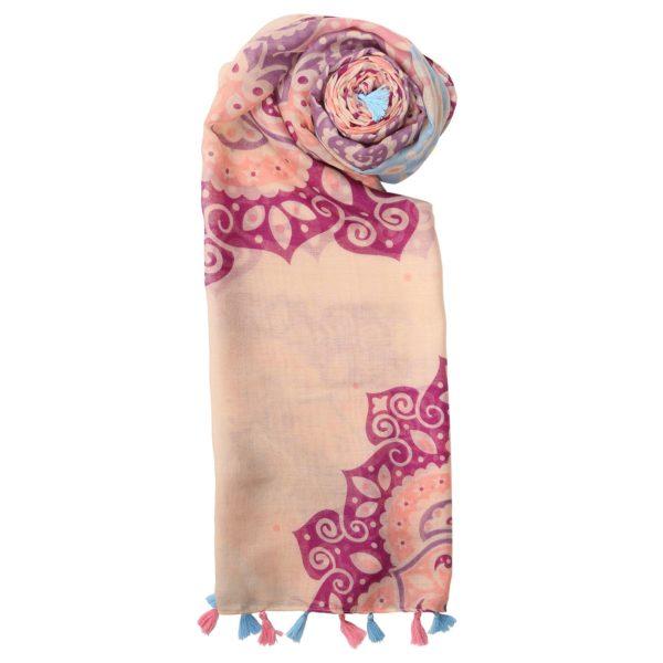 Large pink flower light scarf