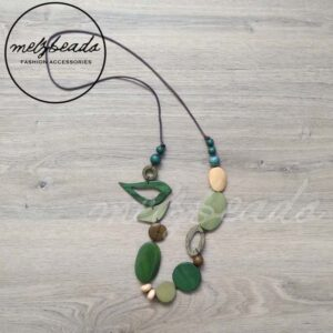 Wooden Green Bird Necklace