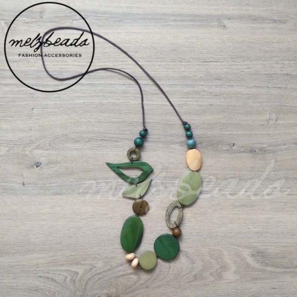 Wooden Green Bird Necklace