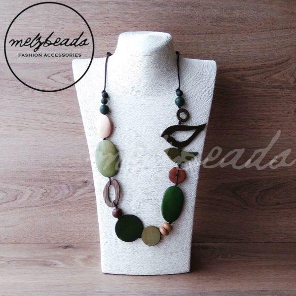 Natural green bird necklace