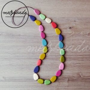 Multi colour wooden bead necklace