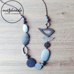 Blue bird wooden necklace