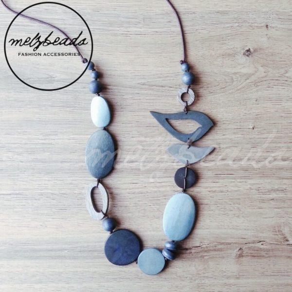 Blue bird wooden necklace