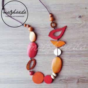 Red Orange bird necklace