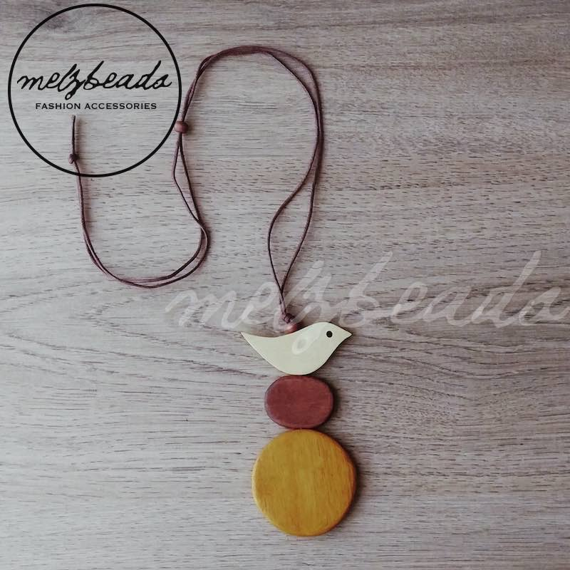 Earth Tone Wooden Bird Disc Circle Necklace
