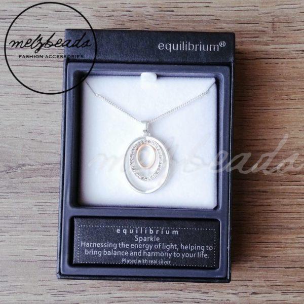 Equilibrium Matt Silver Oval Diamante Necklace