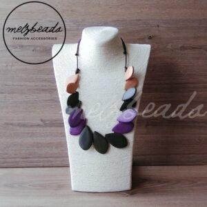Grey Purple Leaf Wooden Necklace