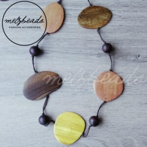 Natural Large Flat Long Wooden Bead Necklace