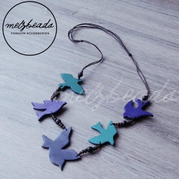 Wooden Turquoise Grey Sparrow Bird Necklace
