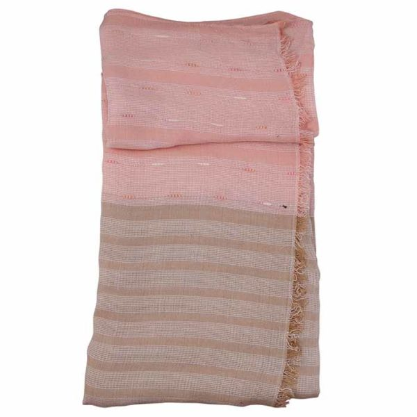 Line Textured Coral Scarf