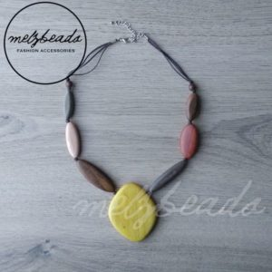 Flat Wooden Beads Natural Earth Tone Bib Necklace