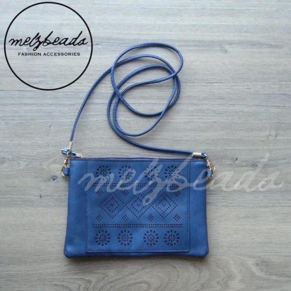 Blue clutch handbag