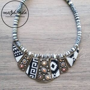 Black White Bohemian Tribal Statement Necklace