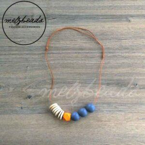 Orange Grey Natural Geometric Wooden Bead Necklace