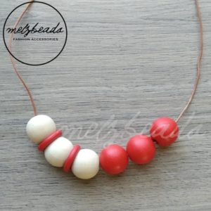 Red Natural Wooden Ball Bead Necklace