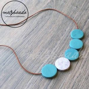 Turquoise Grey Wooden Disk Necklace