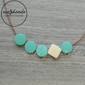 Mint Cream Wooden Disk Necklace