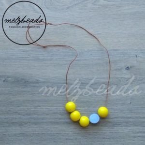 Yellow Grey Wooden Ball Bead Necklace