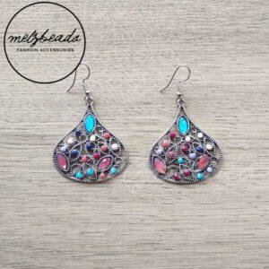 Teardrop Colourful Vintage Silver Earrings