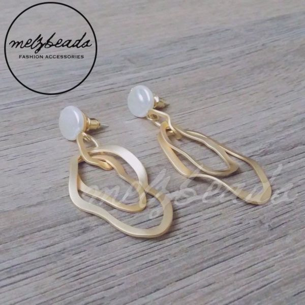 Freshwater Pearl Irregular Oval Matt Gold Dangle Stud Earrings