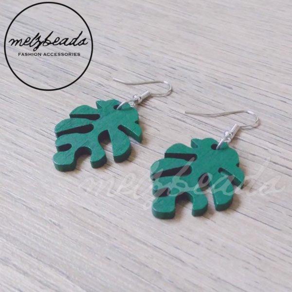 Deep Emerald Green Leaves Earrings